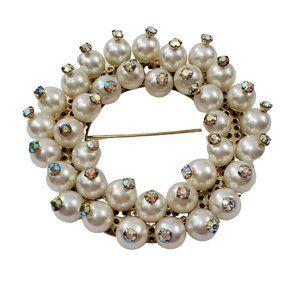 Wreath Pin Faux Pearl AB Rhinestone Gold Tone Roun